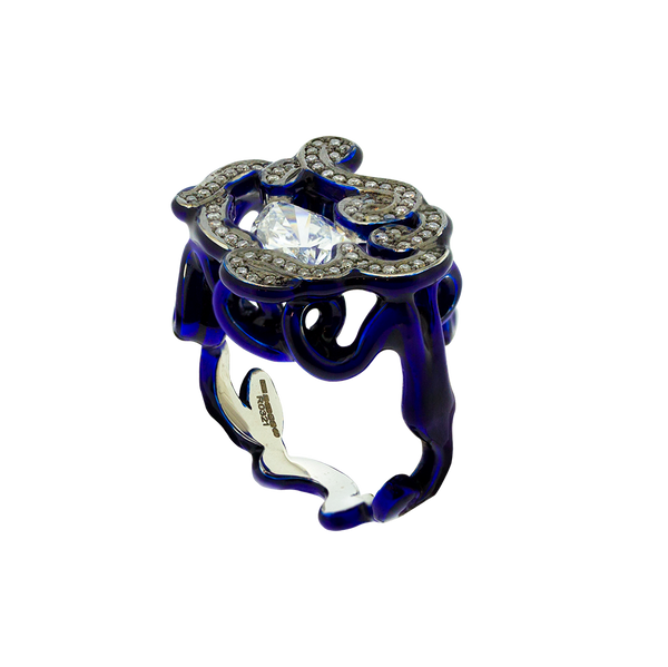 Scribbles Midnight Blue & White Ring