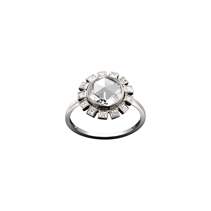 A central rose cut diamond surrounded by princess cut diamonds ring in 18 karat white gold by Solange Azagury-Partridge