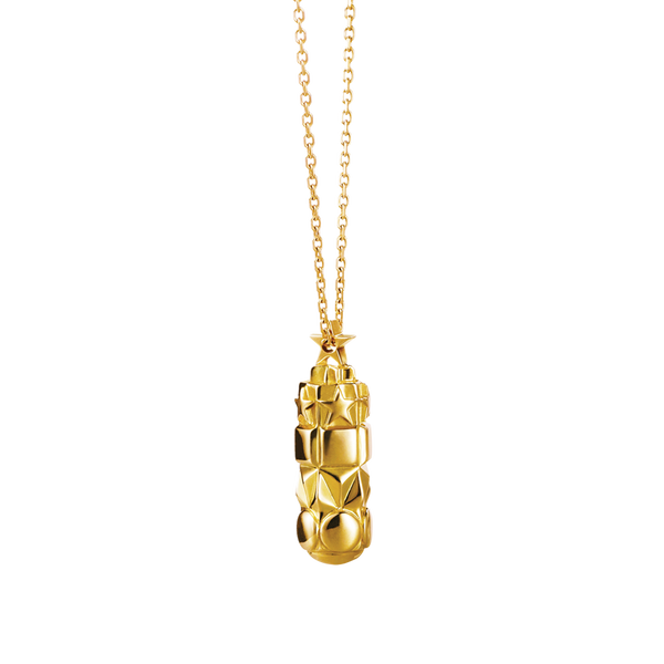 A mish mash raised star, square, triangular and circle motifs patterned pendant with chain in 18 karat yellow gold by Solange Azagury-Partridge