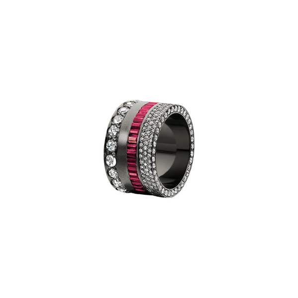 A band set with brilliant cut diamonds pavé, baguette cut rubies and cut diamonds in blackened 18 karat white gold by Solange Azagury-Partridge
