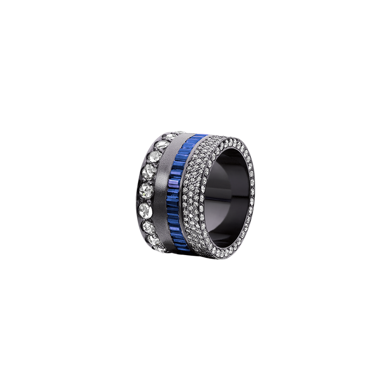 A band set with brilliant cut diamonds pavé, baguette cut sapphires and cut diamonds in blackened 18 karat white gold by Solange Azagury-Partridge