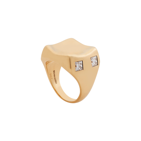 A square signet ring with concave top and princess cut diamonds in 18 karat yellow gold by Solange Azagury-Partridge