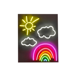 A neon sign composed of a yellow sun, white clouds and rainbow by Solange Azagury-Partridge