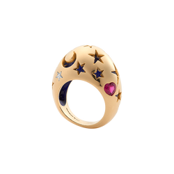 A night sky bombe ring with a diamond star, ruby heart and midnight blue lacquer inside set in 18 karat yellow gold by Solange Azagury-Partridge