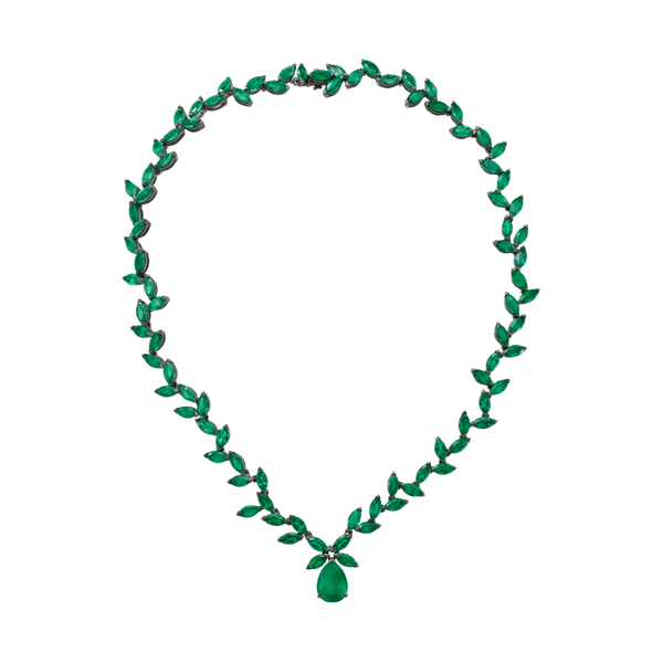 An old fashioned marquise emerald necklace with a pear shaped emerald drop in blackened 18 karat white gold by Solange Azagury-Partridge