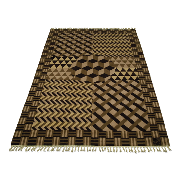 A black and brown parquet rug arranged in different geometric patterns in 100% wool by Solange Azagury-Partridge