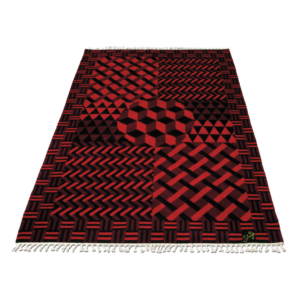 A black and red parquet rug arranged in different geometric patterns in 100% wool by Solange Azagury-Partridge