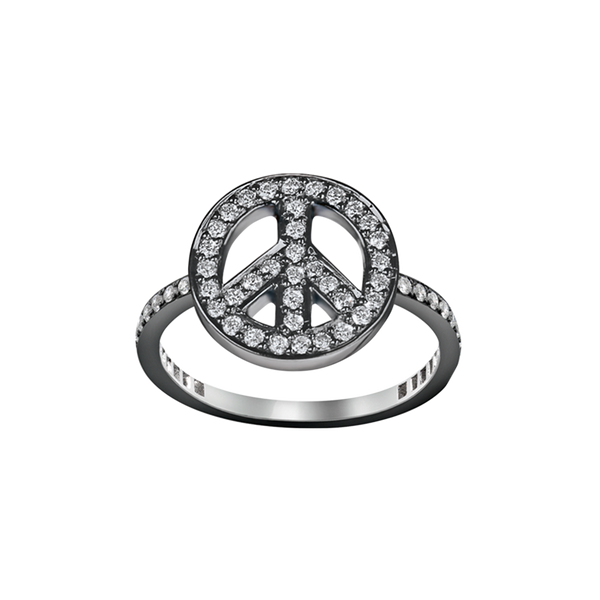 A peace motif ring set with brilliant cut diamonds in blackened 18 karat white gold by Solange Azagury-Partridge