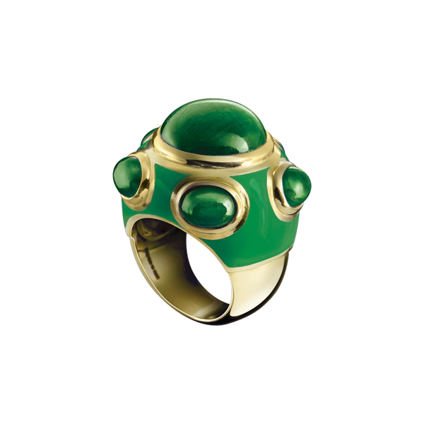 Popes Emerald Green Enamel Ring