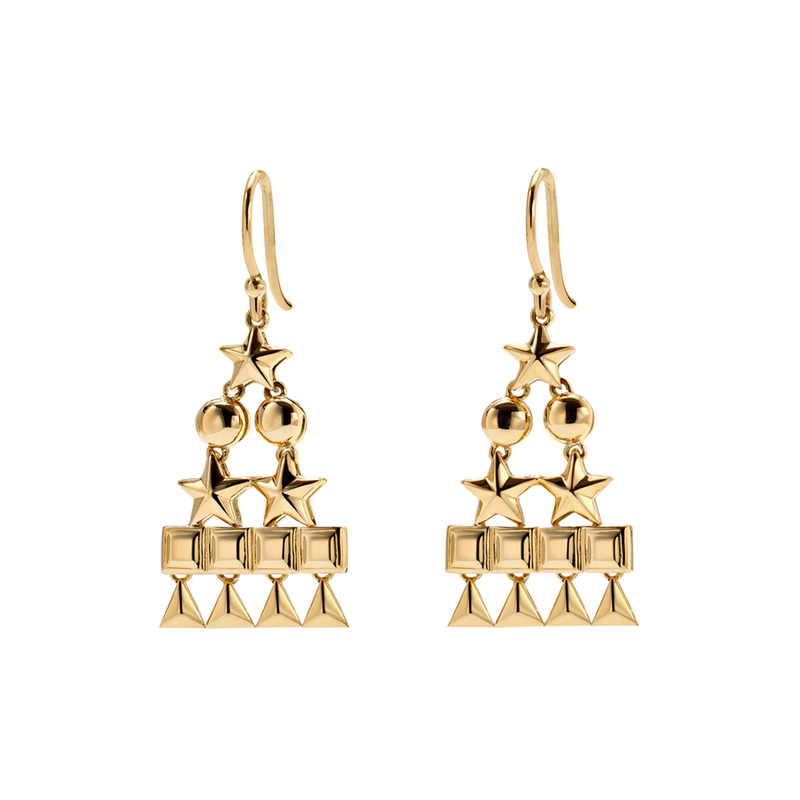 A pair of circle, star, square and triangle pyramid motif drop earrings in 18 karat yellow gold by Solange Azagury-Partridge