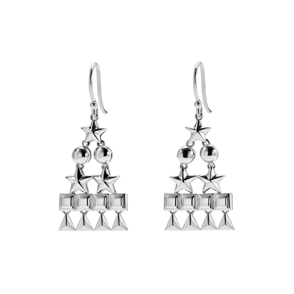 A pair of circle, star, square and triangle pyramid motif drop earrings in 18 karat white gold by Solange Azagury-Partridge