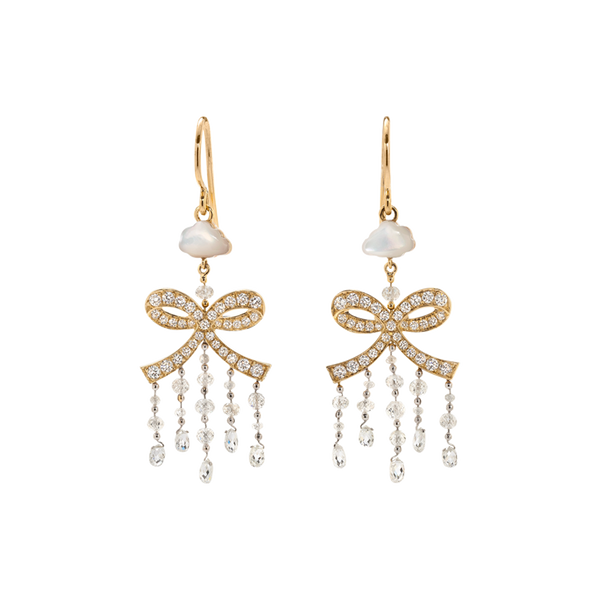 A pair of bow earrings with fish hooks composed of briolette diamond, diamond pavé and a mother of pearl shaped cloud earrings set in 18 karat yellow gold by Solange Azagury-Partridge