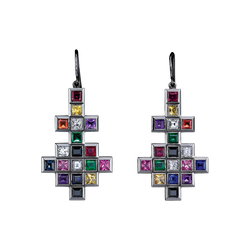 A pair of earrings with fish hooks with random layout of square and princess cut diamonds, coloured sapphires, rubies and emeralds in blackened 18 karat white gold by Solange Azagury-Partridge