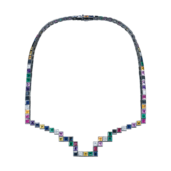 A random layout of square and princess cut Diamonds, coloured Sapphires, Rubies and Emeralds skinny necklace in blackened 18 karat white gold by Solange Azagury-Partridge