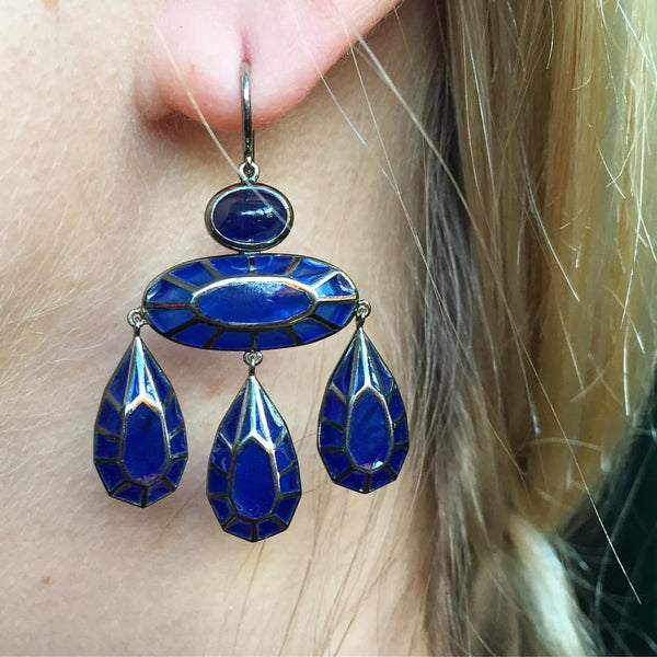 Georgian Blue Enamel Sapphire Earrings