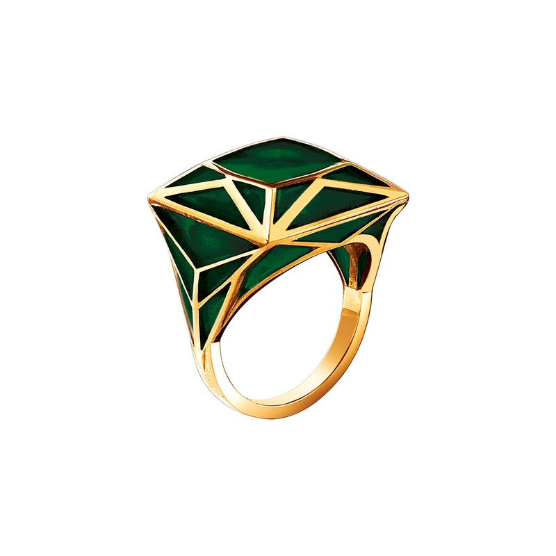 A green plique-à-jour enamel real fake square ring in 18 karat yellow gold by Solange Azagury-Partridge