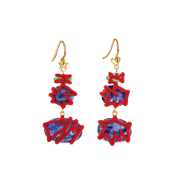 Scribbles Red Blue & Green Earrings