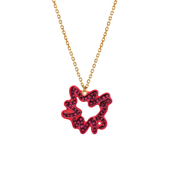 Scribbles Pave Ruby Pendant