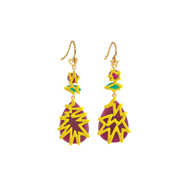 Scribbles Red Green & Yellow Earrings