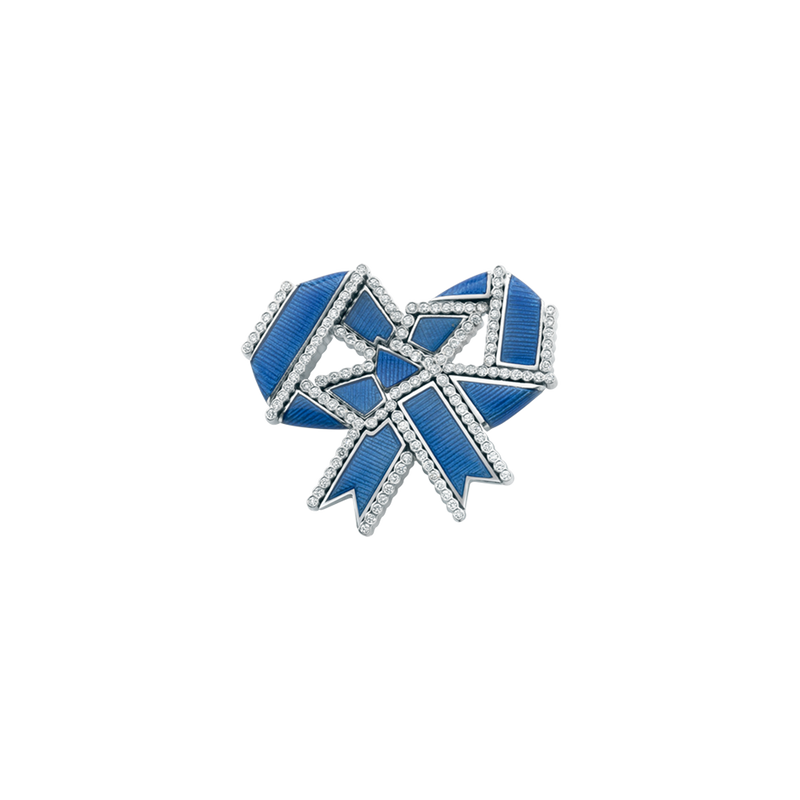 A twisted ribbon motif diamond and blue guilloché enamel regalia brooch in 18 karat white gold by Solange Azagury-Partridge