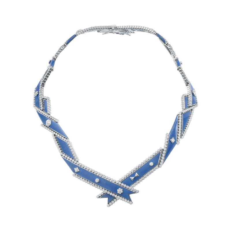 A twisted ribbon motif diamond and blue guilloché enamel regalia necklace in 18 karat white gold by Solange Azagury-Partridge