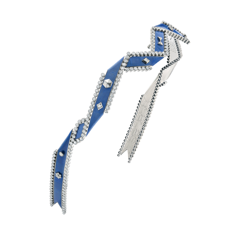 A twisted ribbon motif diamond and blue guilloché enamel regalia headband in 18 karat white gold by Solange Azagury-Partridge