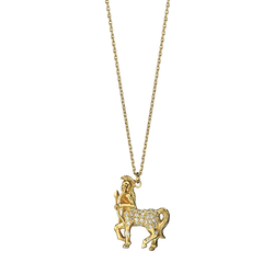 A zodiac sagittarius motif pendant with diamonds in 18 karat yellow gold by Solange Azagury-Partridge