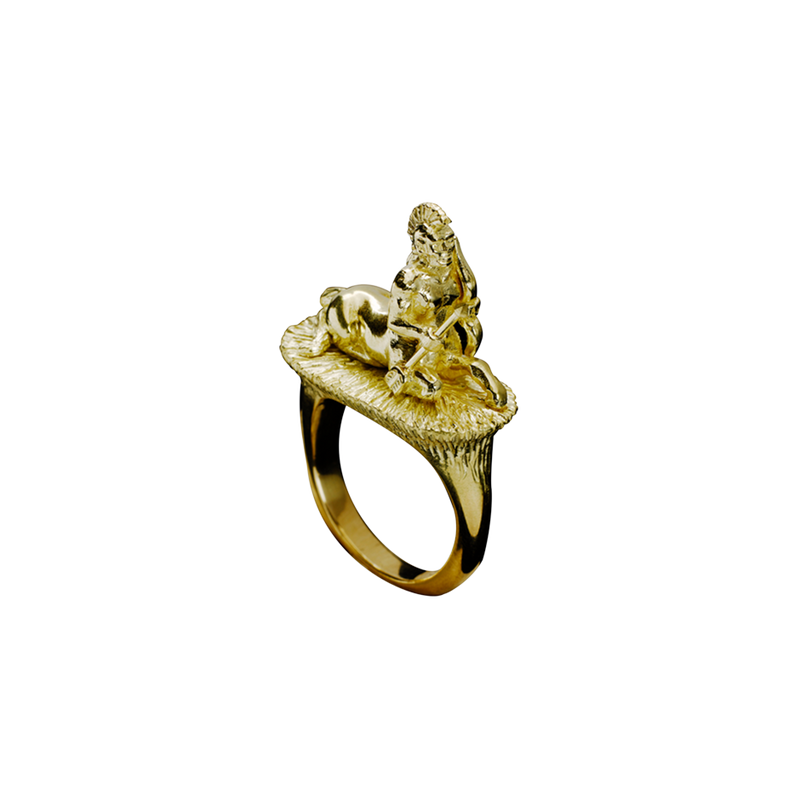 A zodiac sagittarius motif ring in 18 karat yellow gold by Solange Azagury-Partridge