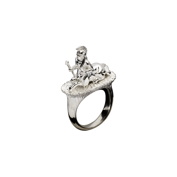A zodiac sagittarius motif ring in 18 karat white gold by Solange Azagury-Partridge