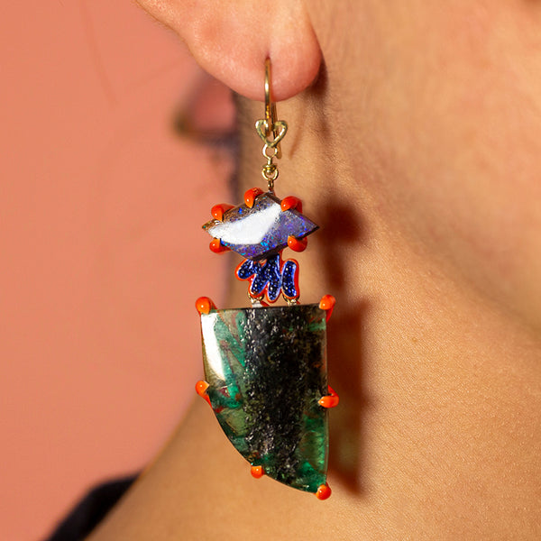 Scribbles Blue Green & Orange Earrings