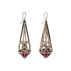 A pair of shooting star motif earrings in red enamel set with diamonds in 18 karat yellow gold by Solange Azagury-Partridge