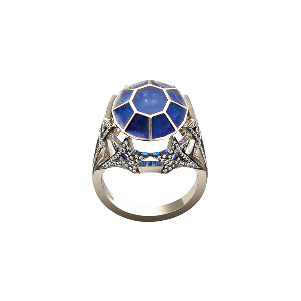 Diamond pavé set in a shooting star motif ring with blue plique-à-jour enamelling in blackened 18 karat white gold by Solange Azagury-Partridge