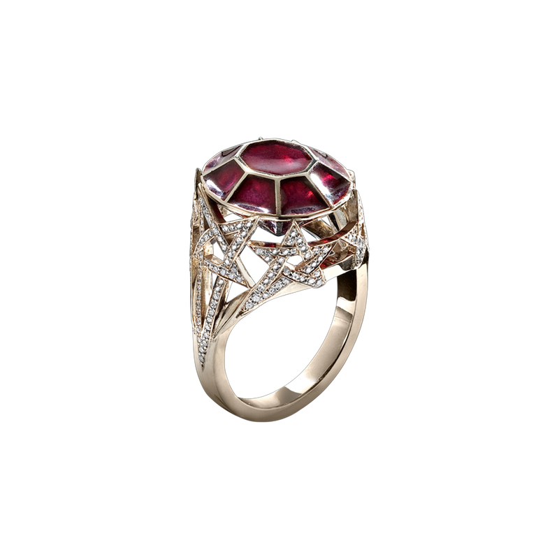 Diamond pavé set in a shooting star motif ring with red plique-à-jour enamelling in blackened 18 karat white gold by Solange Azagury-Partridge