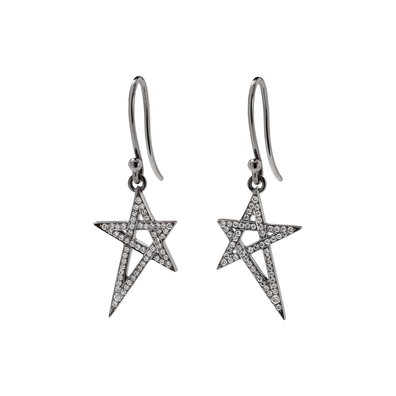 A pair of diamonds pavé shooting star motif earrings with fish hooks set in blackened 18 karat white gold by Solange Azagury-Partridge