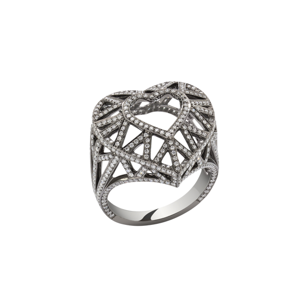 Skeleton Heart Diamond Ring