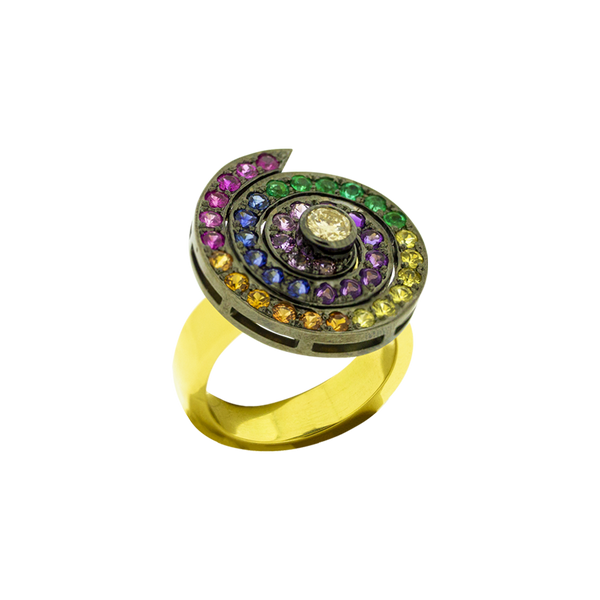 Round Rainbow Spinner Ring