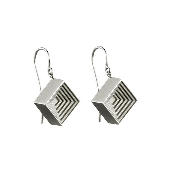 A pair of raised square motif earrings on french hooks in 18 karat white gold by Solange Azagury-Partridge