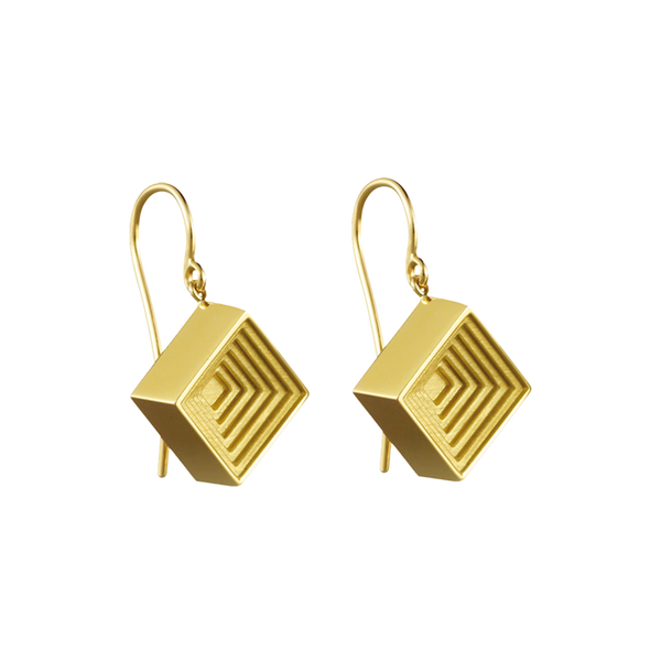 A pair of raised square motif earrings on french hooks in 18 karat yellow gold by Solange Azagury-Partridge