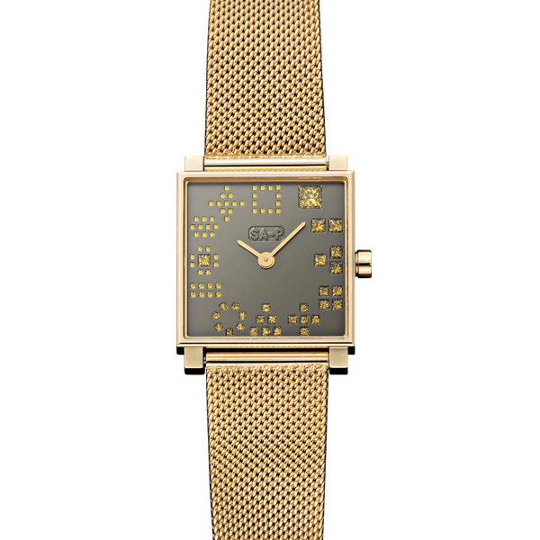 A square analogue watch with a yellow gold face set with seventy-eight square diamonds for numbers and woven bracelet with buckle in 18 karat yellow gold by Solange Azagury-Partridge
