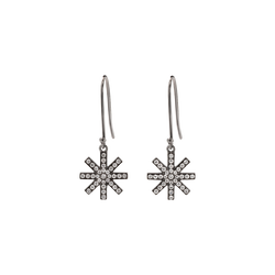 A pair of delicate star motif earrings set with brilliant cut diamonds in blackened 18 karat white gold by Solange Azagury-Partridge