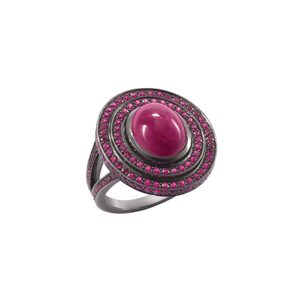 Step Oval Cabochon Ruby Ring