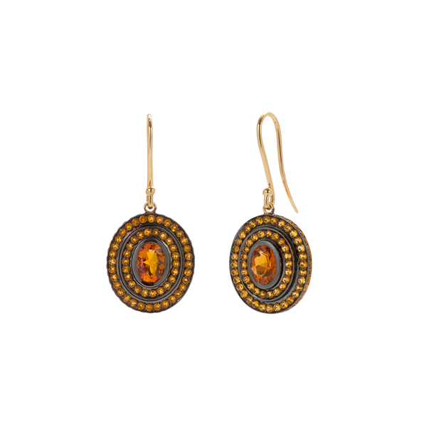 A pair step earrings with oval citrine centre stones surrounded by two tiers of citrines in blackened 18 karat yellow gold by Solange Azagury-Partridge