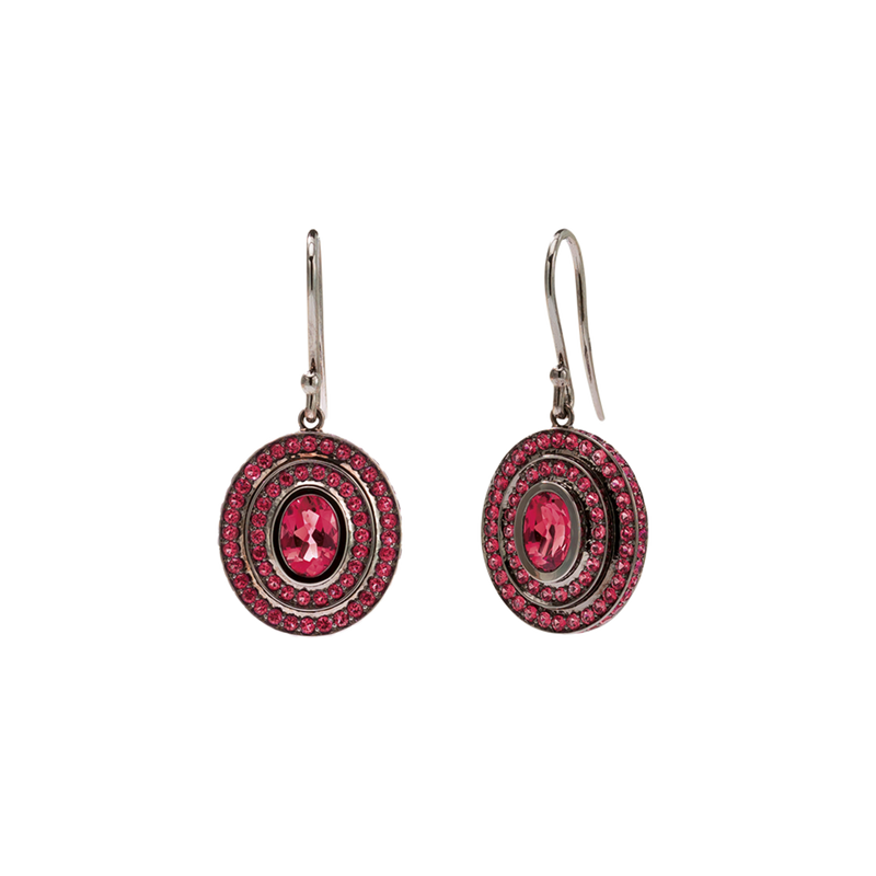 Step Oval Ruby Earrings