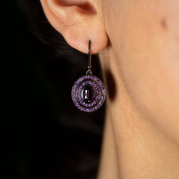 Step Oval Amethyst Earrings