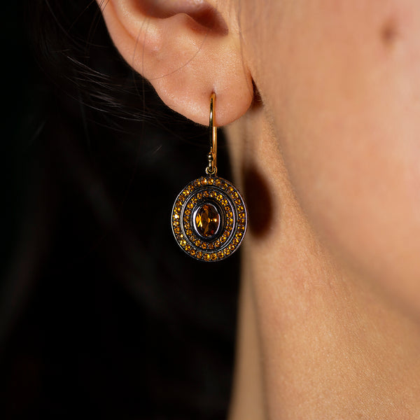 Step Oval Citrine Earrings