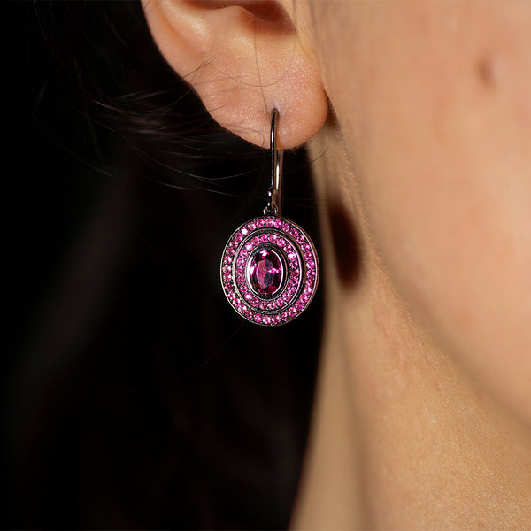 Step Oval Pink Tourmaline Earrings