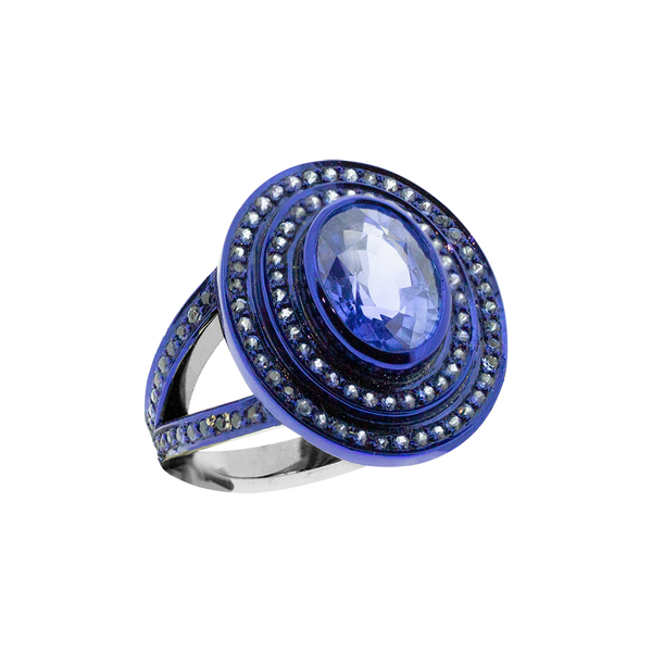 Step Oval Sapphire Ring