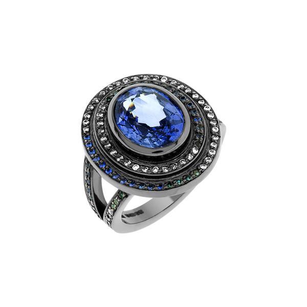 Step Sapphire and Diamond Ring