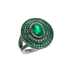 Step Oval Emerald Ring