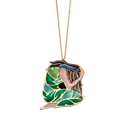 A multicolour  plique-a-jour enamel crouching woman necklace in 18 karat yellow gold by Solange Azagury-Partridge